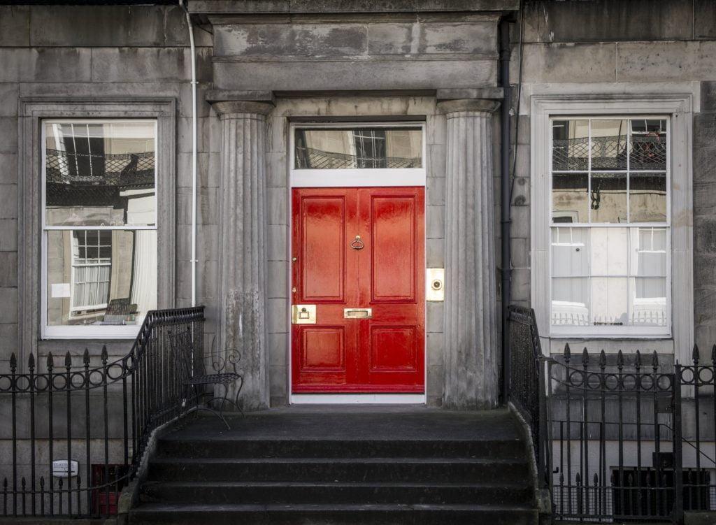 Red Door Gray Columns