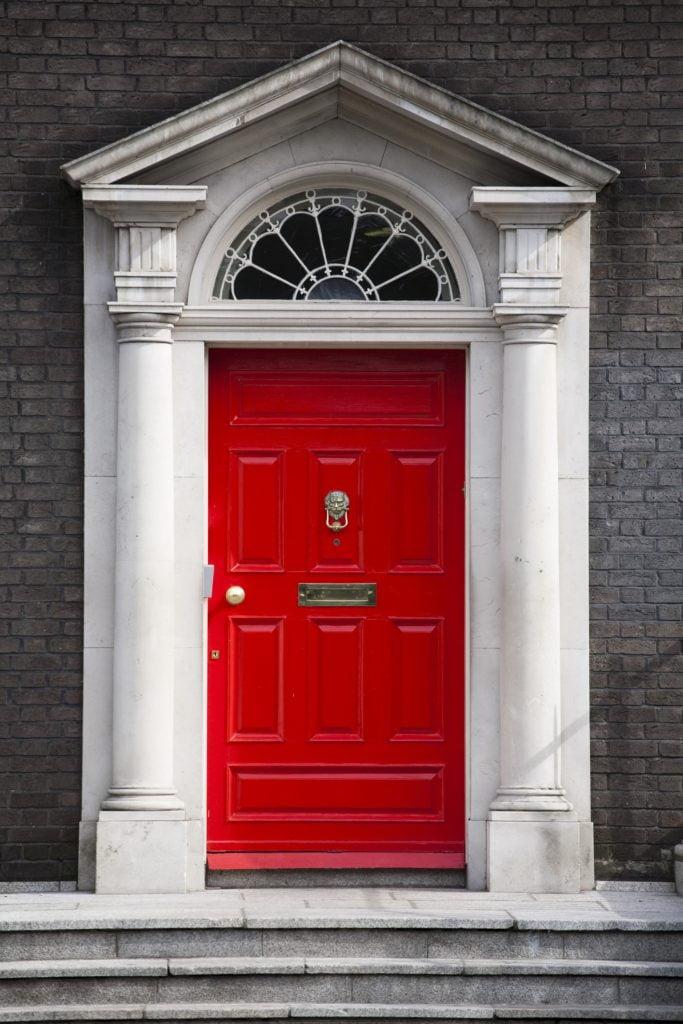 Red Door White Columns