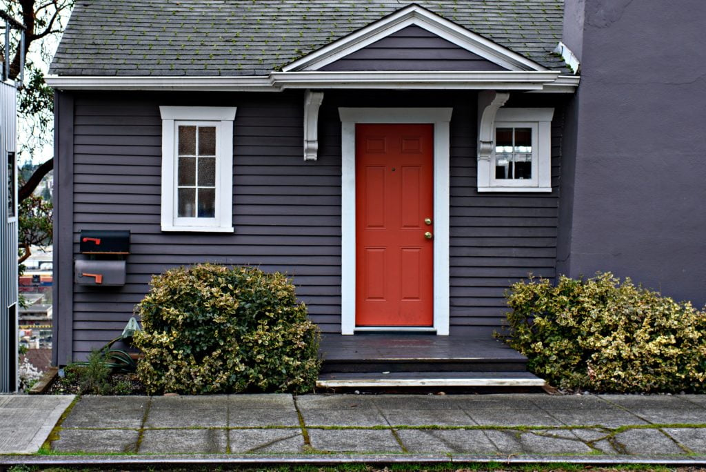 Red Door with White Frame
