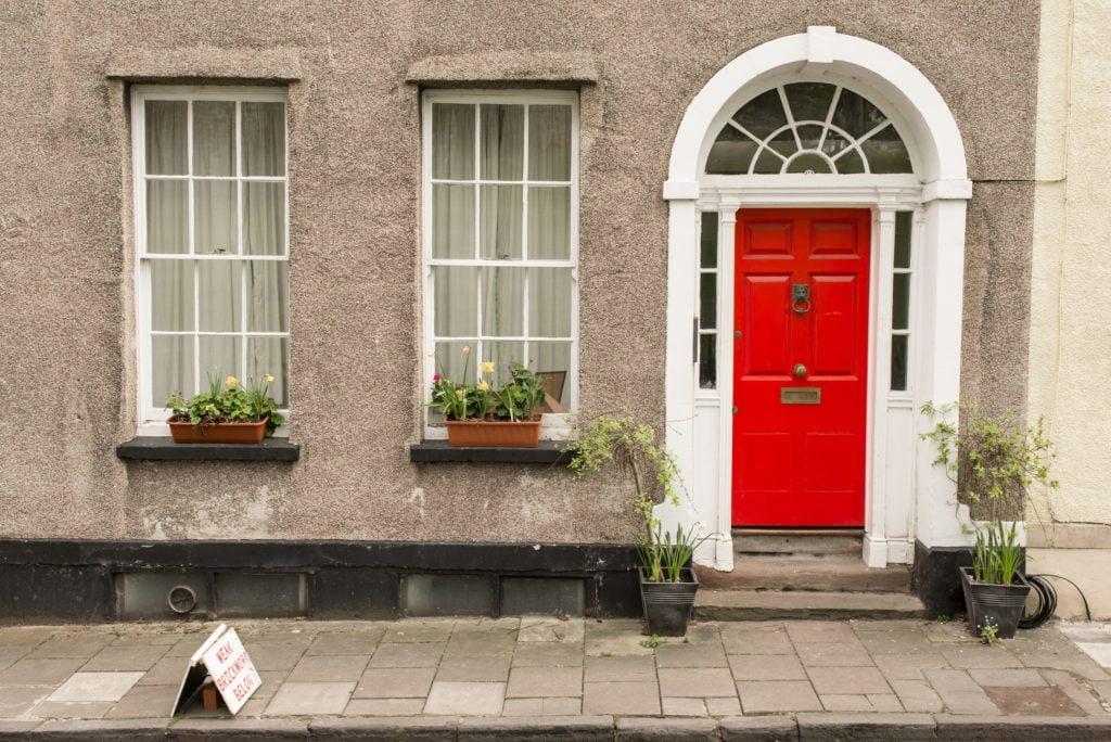 Red Door with Windows
