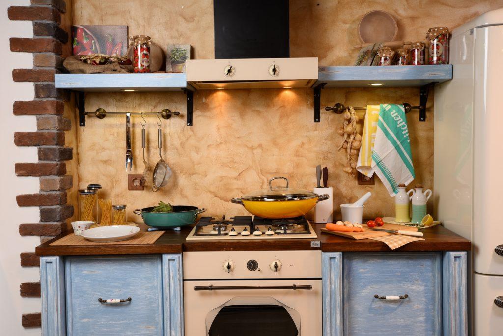 Retro Style Kitchen Interior in Light Blue and Warm Brown
