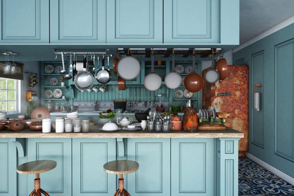 Rustic Aqua Kitchen Interior with Brown Décor Accents