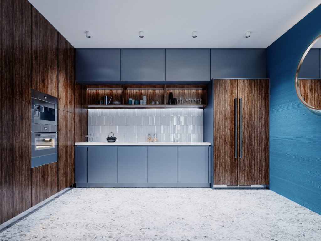 Small Kitchen with Dynamic Blue and Brown Décor