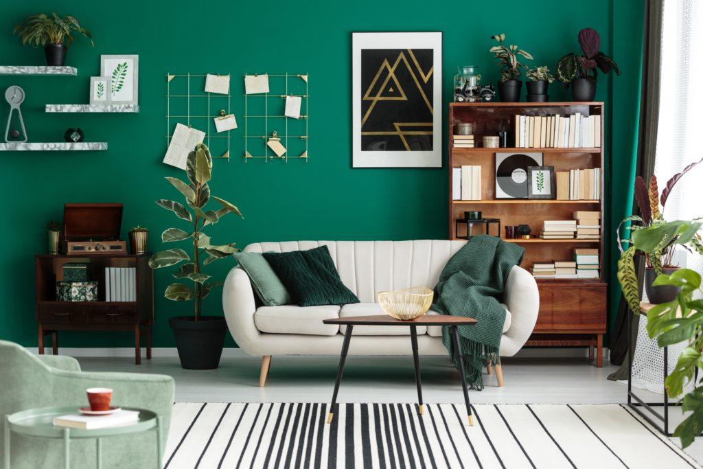 Teal Wall Living Room