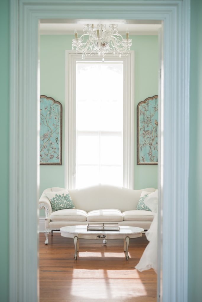 Teal White Living Room