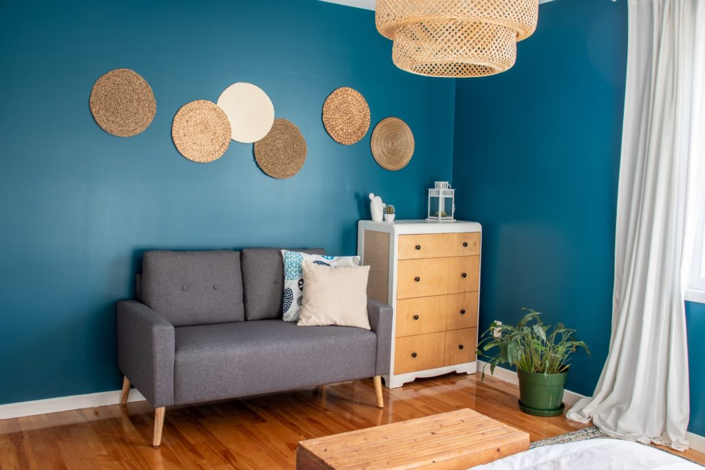 Teal and Natural Living Room