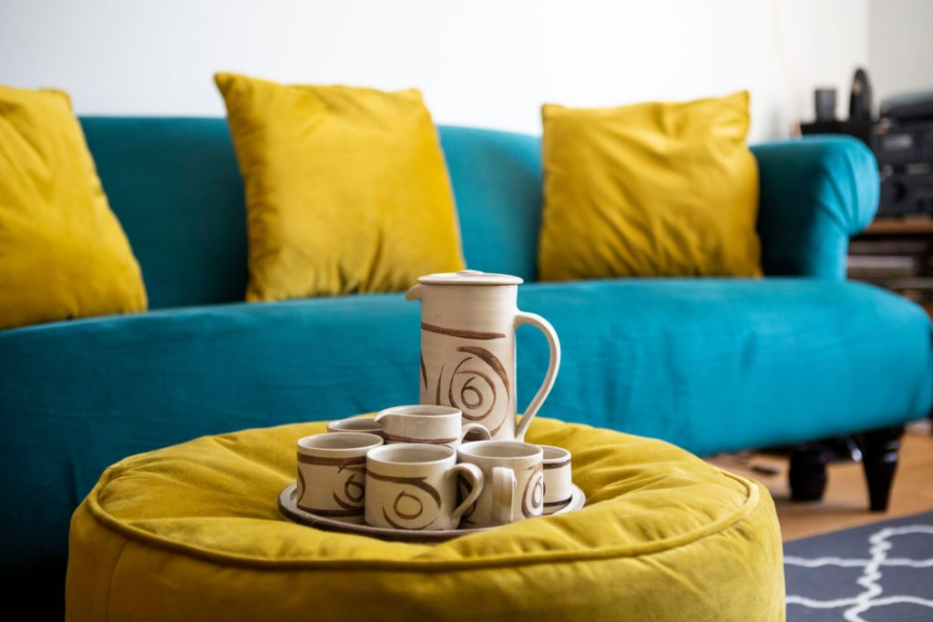 Teal and Yellow Living Room