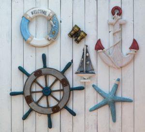 large ship wheel décor