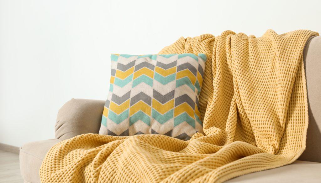 mustard yellow throw blankets