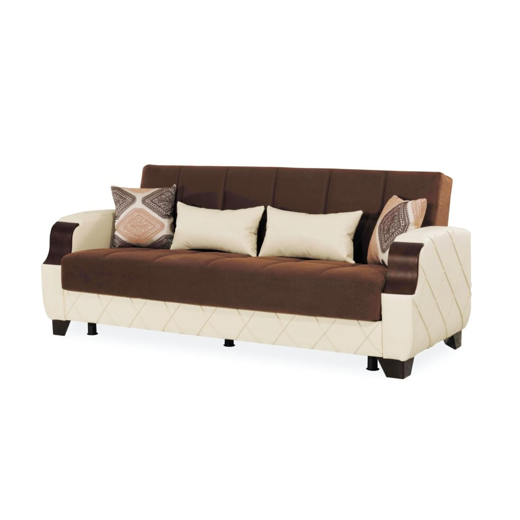 Beautiful Coffee Brown Sofa Seat & Back Showcased by Creamy Ivory Frame Details Featuring 2 Bolster Pillows & two Square Patterned Throws