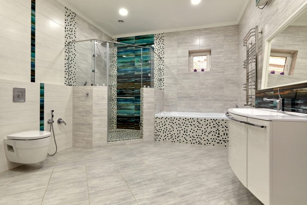 Blue and Gray Mansion Bathroom