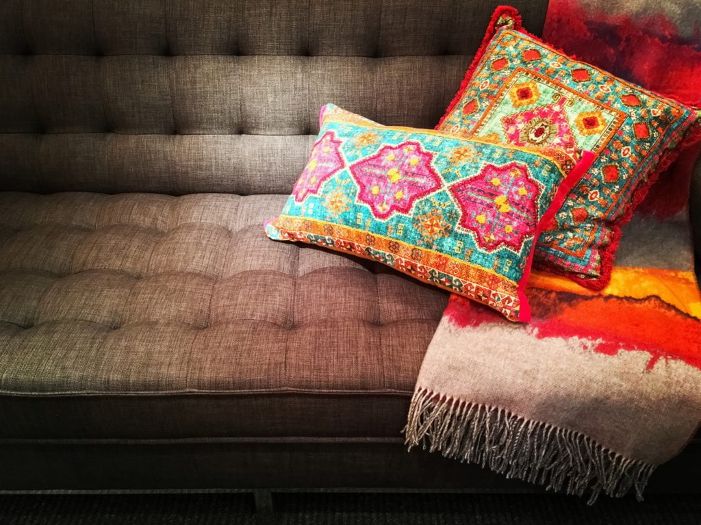 Brightly-Colored Mix of Mid West Aztec-Inspired Designer Throw Pillows in Vivid Desert Shades