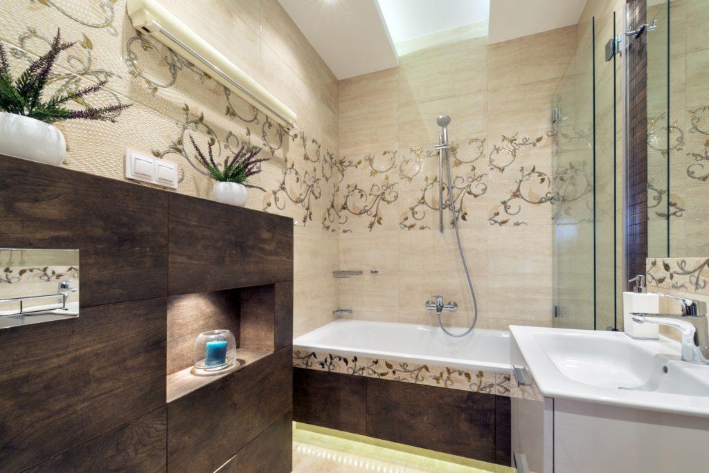 Brown Floral Bathroom
