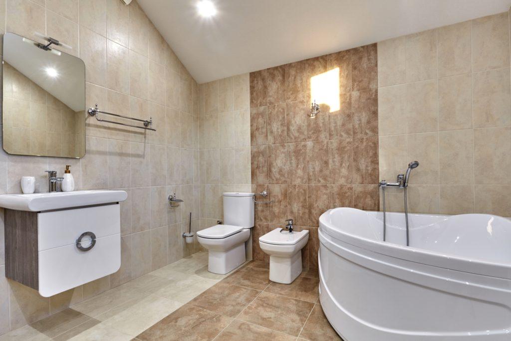 Brown and Tan Bathroom