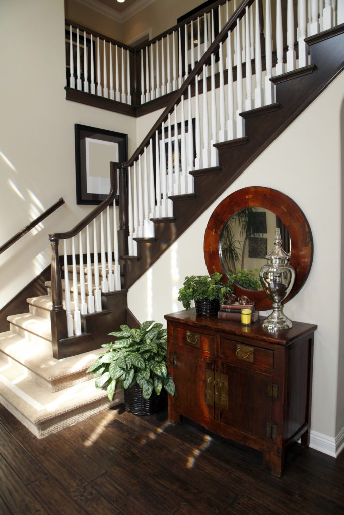 Brown and White Foyer