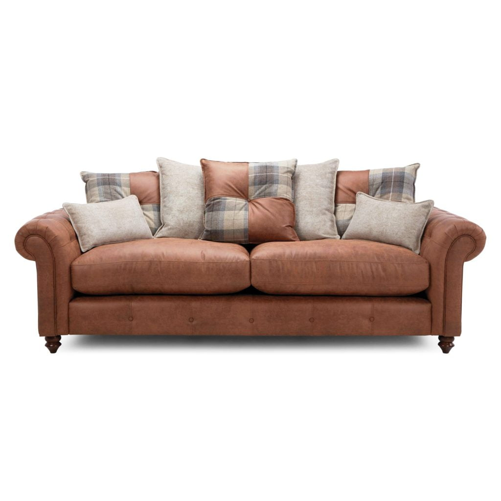 Casual Country Meets Classic Urban Chic Plaid Featuring Scattered Throw & Bolster Cushions