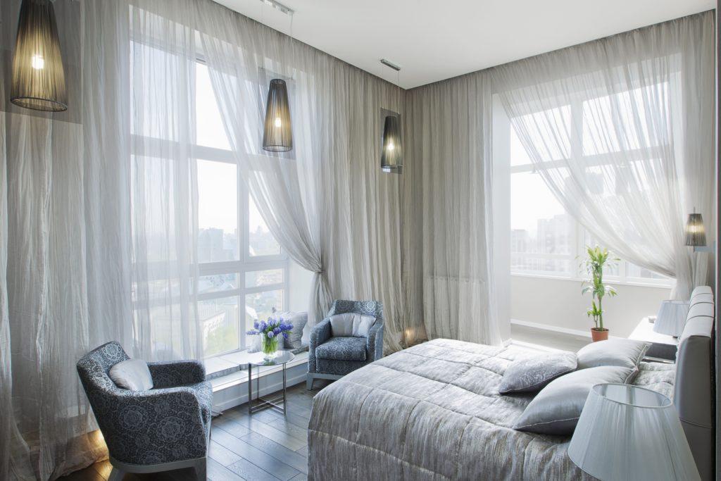 Cozy Mansion Design Bedroom Corner with Panoramic Views