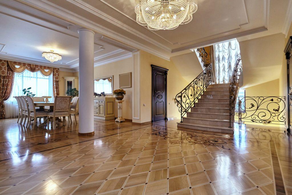 Elegant Mansion Entrance with Chandelier