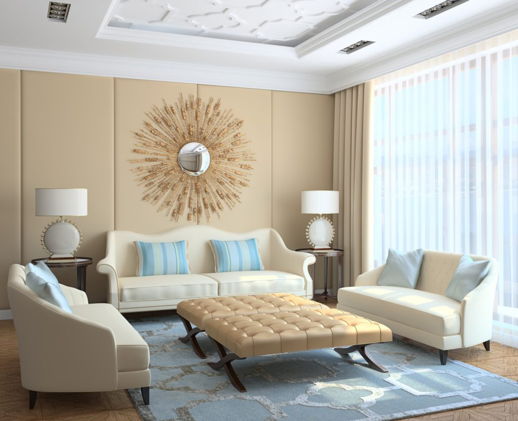 Fashionable Sitting Room with Beige Couches and Stylish Pillows