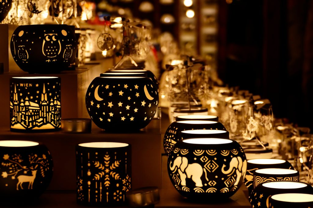 Festive Black & Gold Patterned Christmas Market Candle Holder Finds