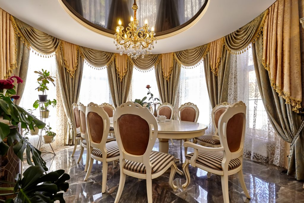 Gold Curtains Dining Room
