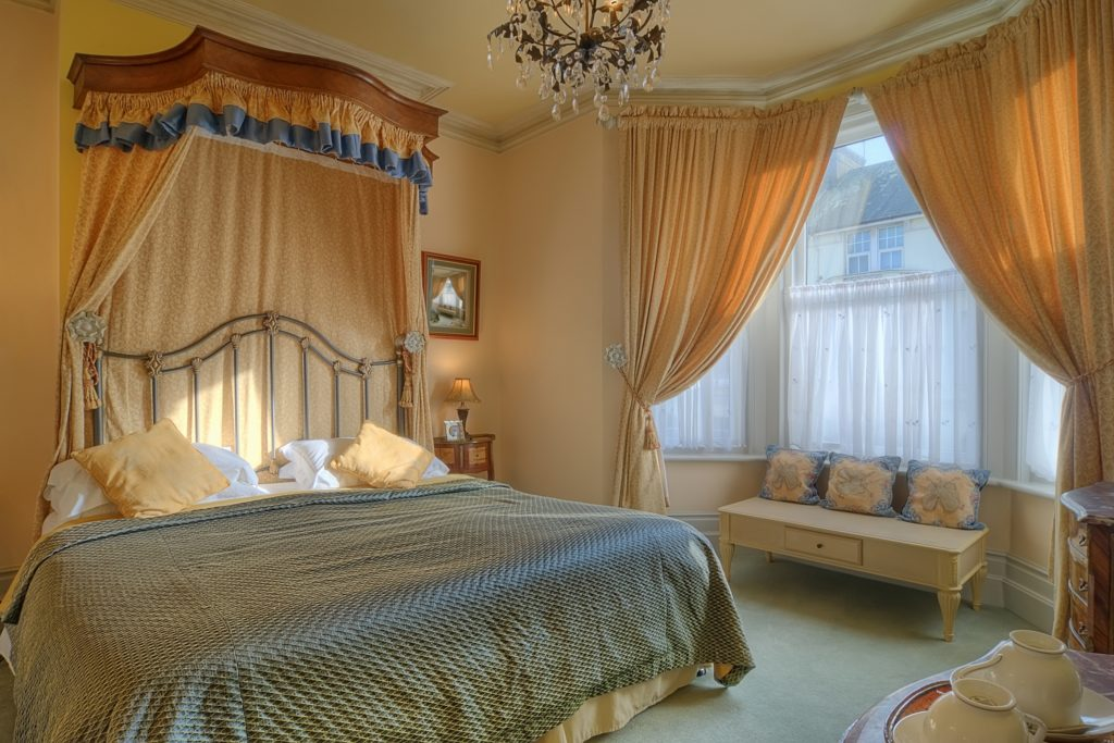 Gold and Blue Bedroom