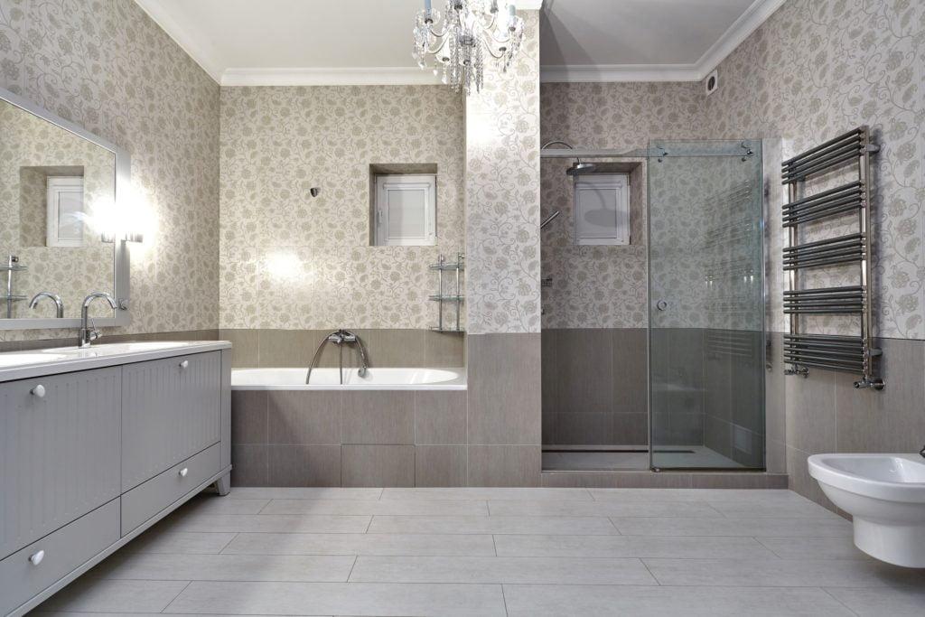 Gray Floral Bathroom