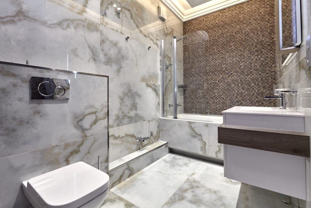 Gray Marble Mansion Bathroom
