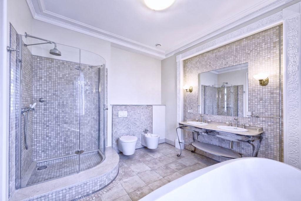 Gray Tiled Bathroom