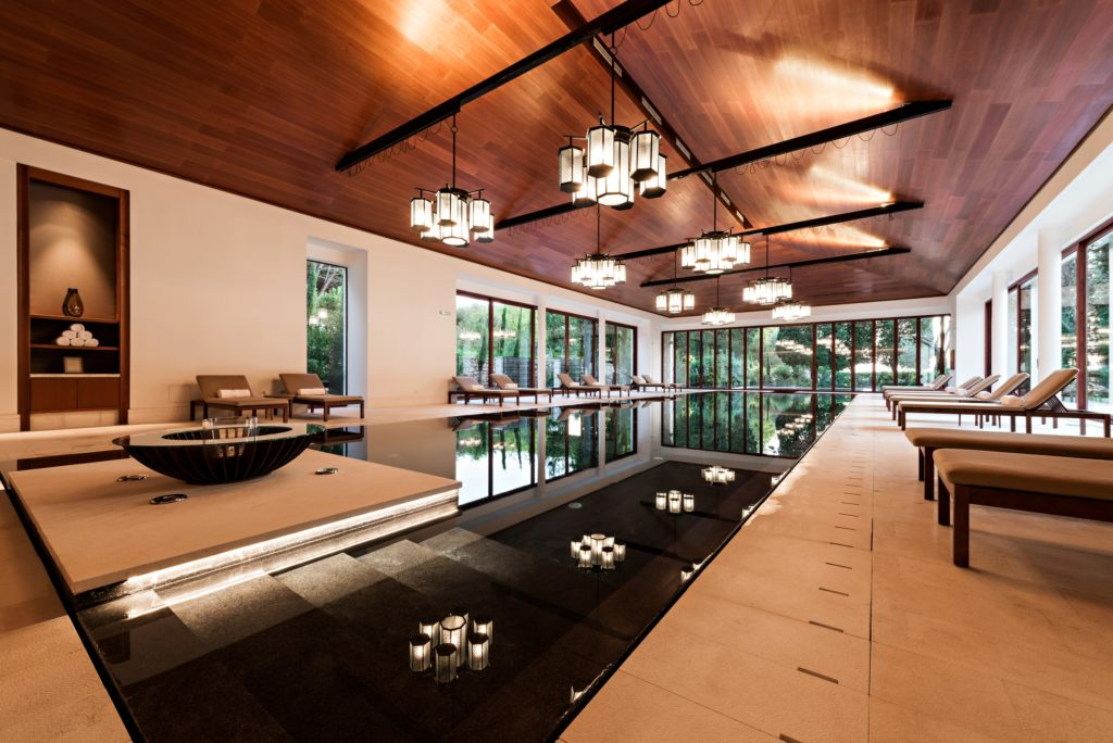 Indoor Pool Wood Ceiling