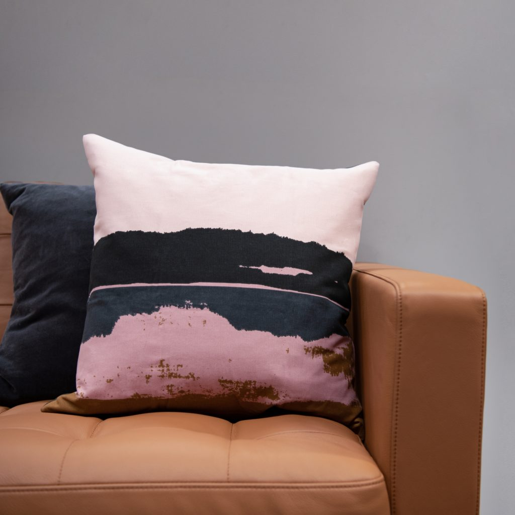 Large Pair of Tie-Dye-Inspired Throw Pillow with Black Golden & Tan Mauve Pink Shades