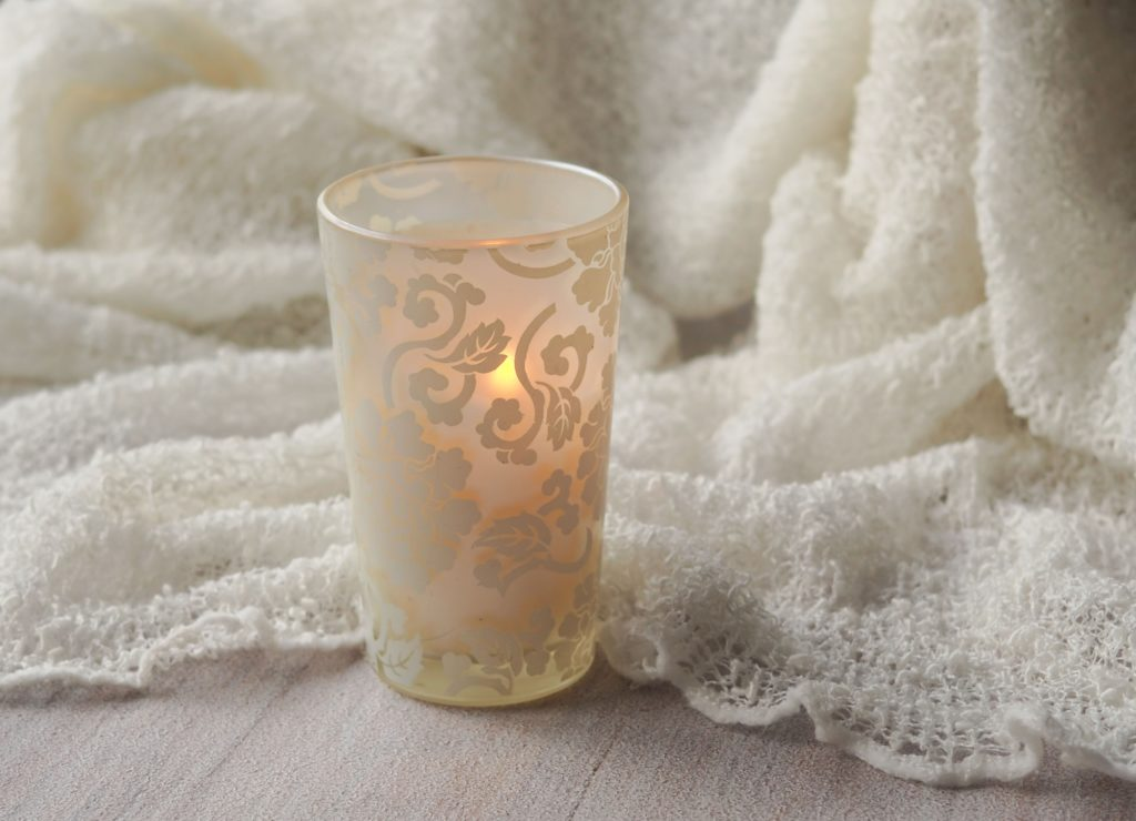 Lovely & Cozy Warm Hygge-Styled Cream Candle Holder with Feminine Filigree