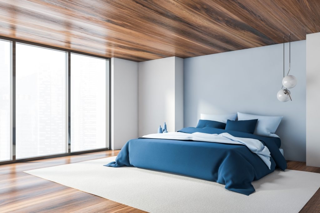 Luxury Mansion Bedroom with Beautiful Wood Floor and Ceiling