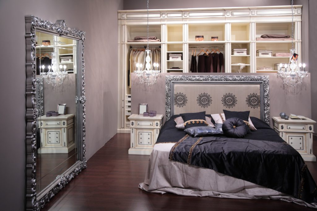 Mansion Bedroom Interior with Shabby Chic Decor