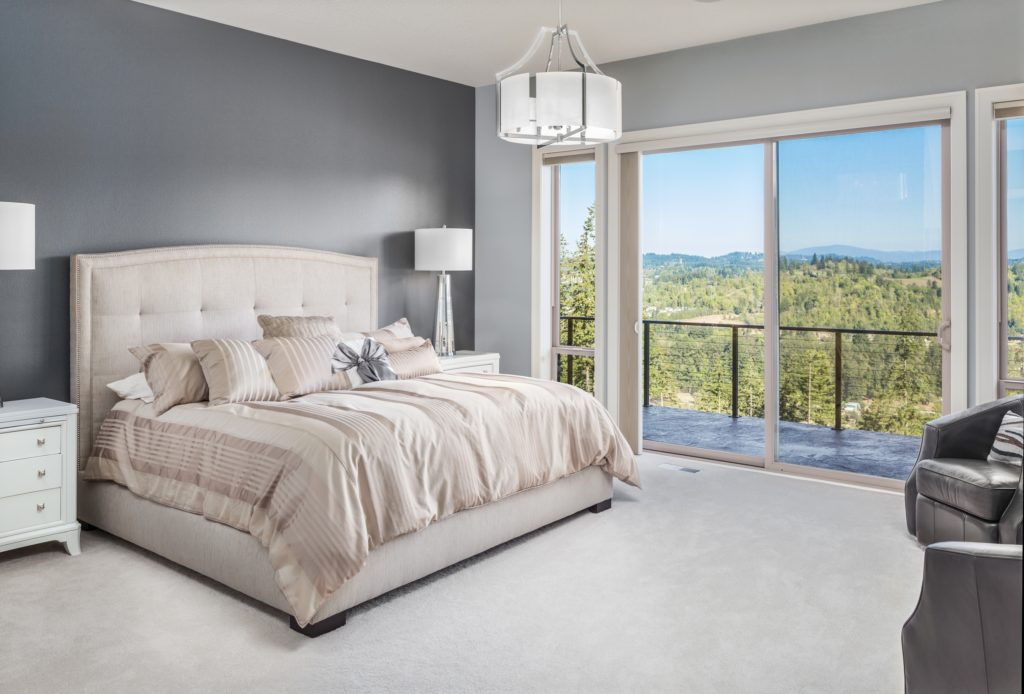 Modern Beige and Grey Bedroom in Classic Mansion Style