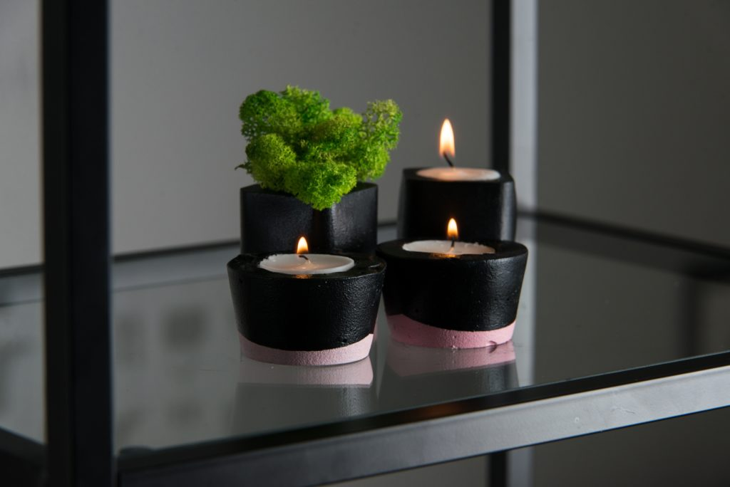 Modern Contemporary Black & Pink Cement Candle Holder with Moss
