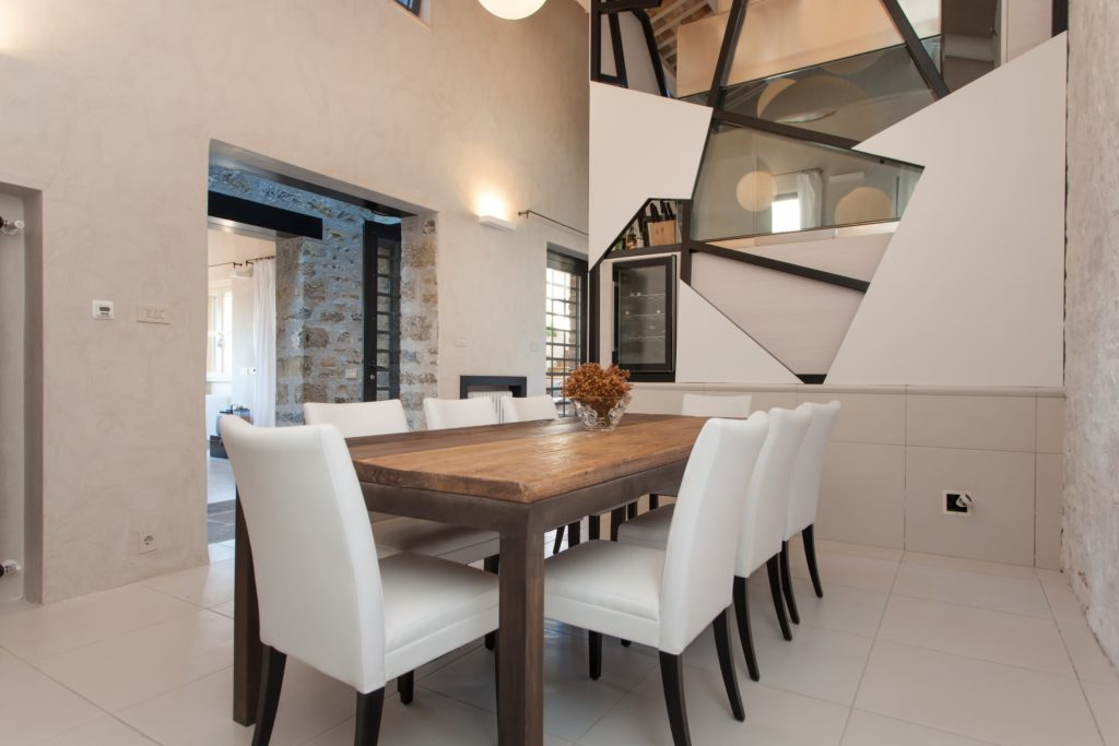 Modern Dining Room with Brown Table