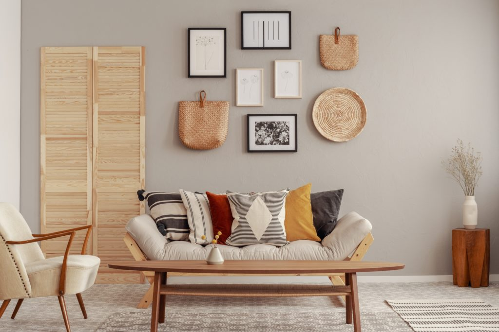 Rich Throw Pillow Colors to Enliven a Neutral Beige Futon-Couch
