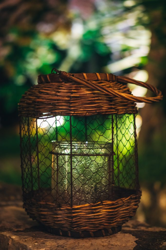 Rustic Style Wicker Candle Holder for Tabletop or Hanging