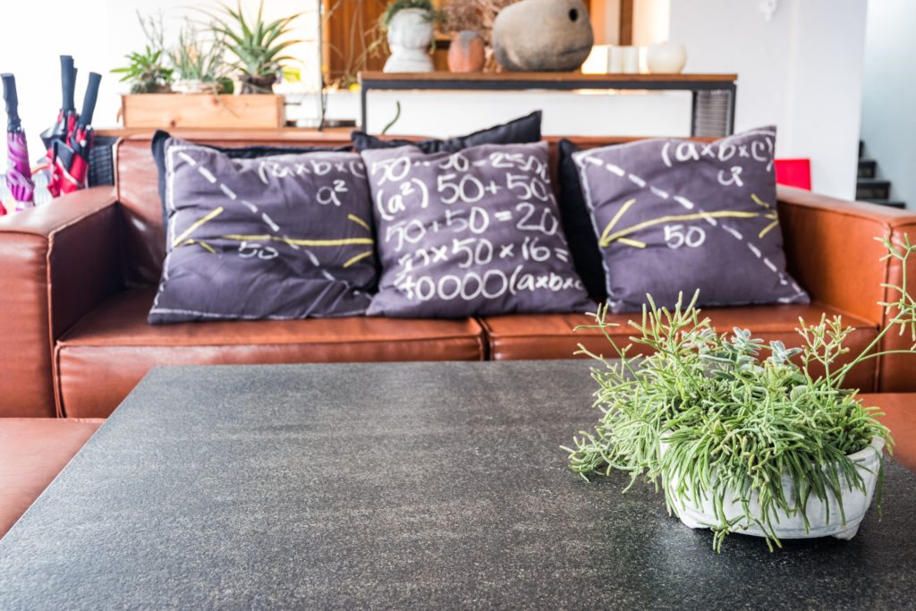 Shabby-Chic Eclectic Collection of Large Slate-Grey Pillows with Math Equations Printed in White with Yellow Accents