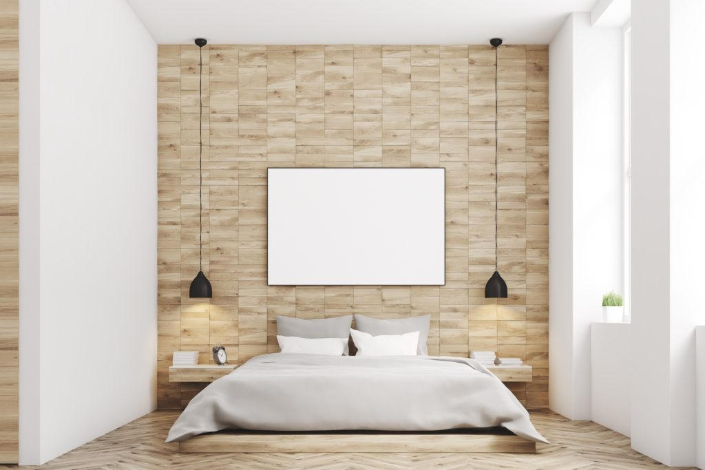 Simple Modern Mansion Bedroom Design with Natural Wood Walls