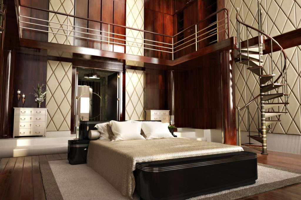 Sophisticated Modern Mansion Bedroom with Spiral Staircase