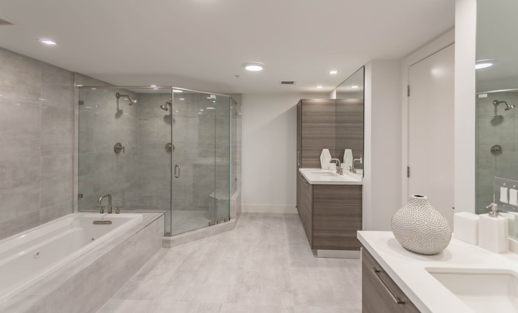 Spacious Gray Mansion Bathroom