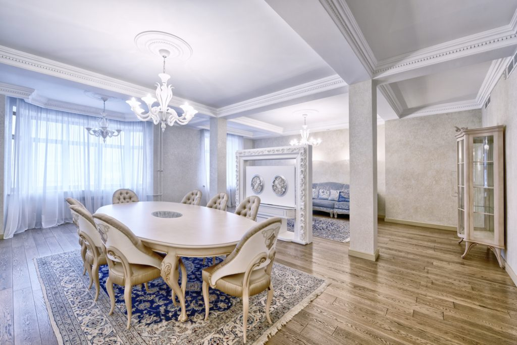 White Mansion Dining Room with Chandelier