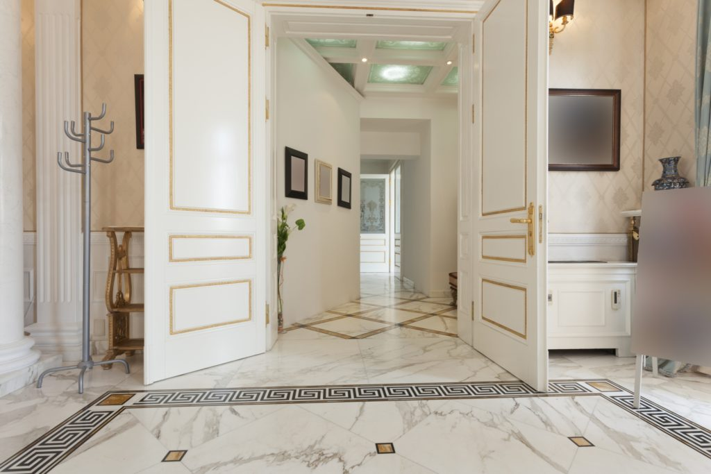 White Mansion Foyer with Marble Floor
