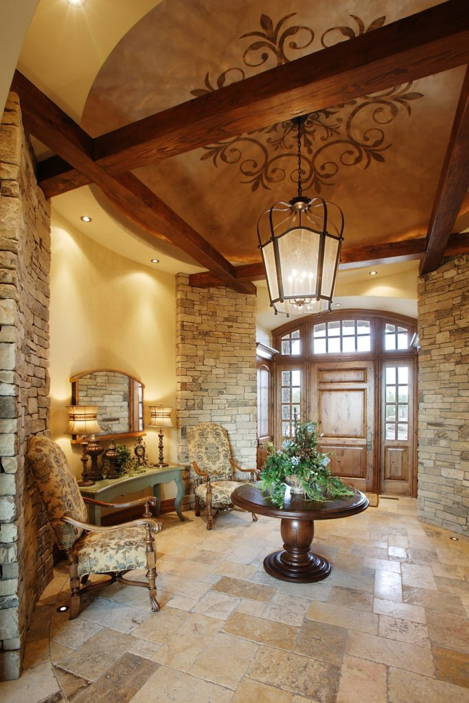 Wood and Stone Foyer