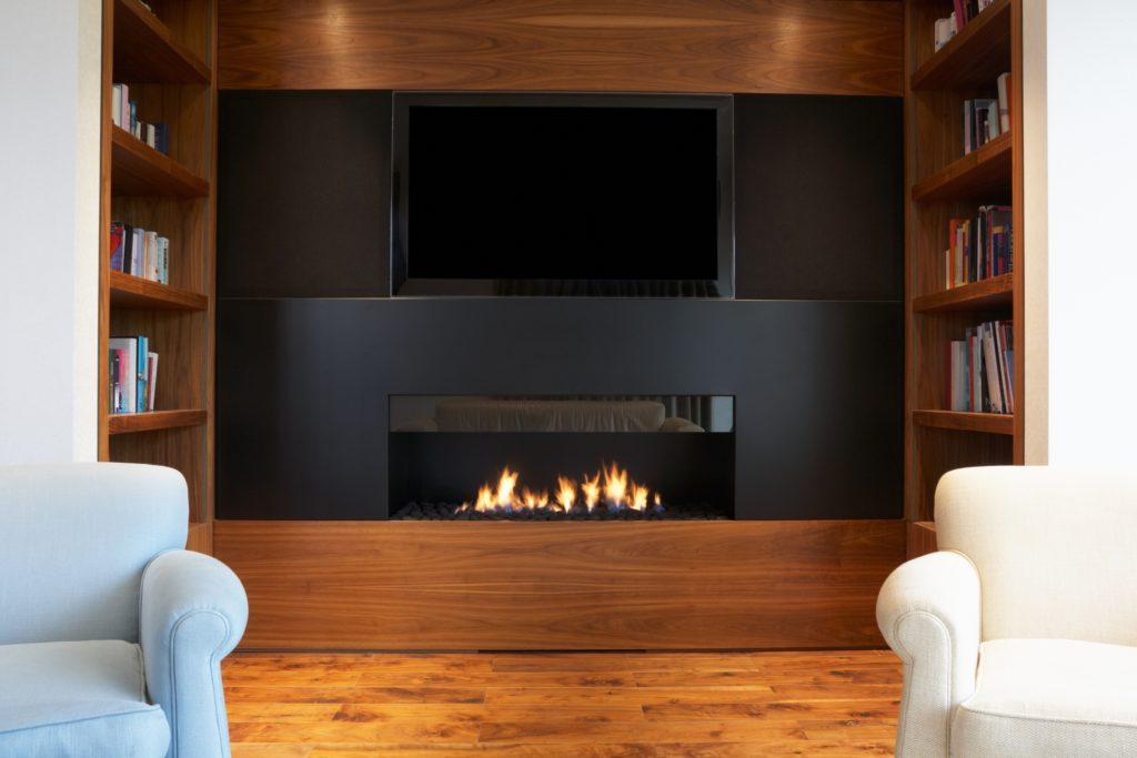 Black Fireplace and TV