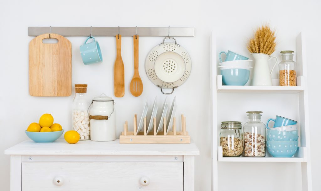 Blue and Brown Kitchen Shelves