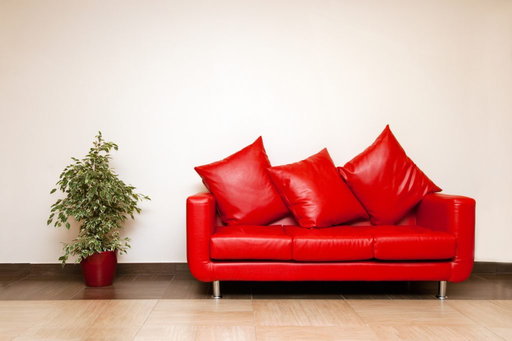Bright Red Contemporary Leather Couch and Pillows with Potted Green Plant