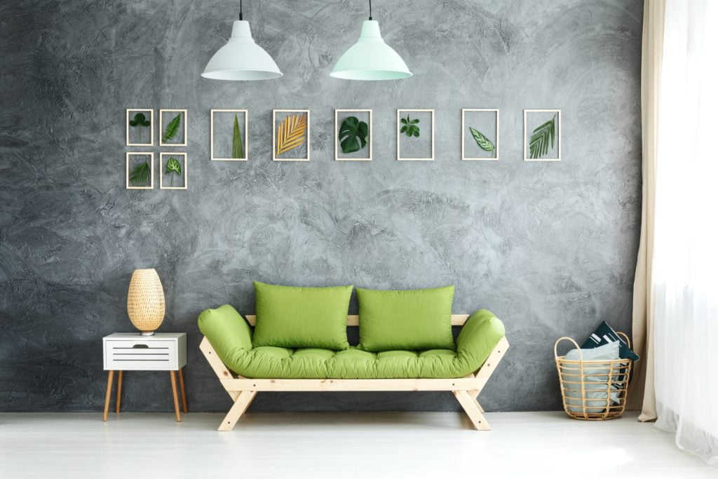 Casual Botanical Green Wooden Couch by Gray Wall Gives an Urban Chic Vibe Thats Refreshing
